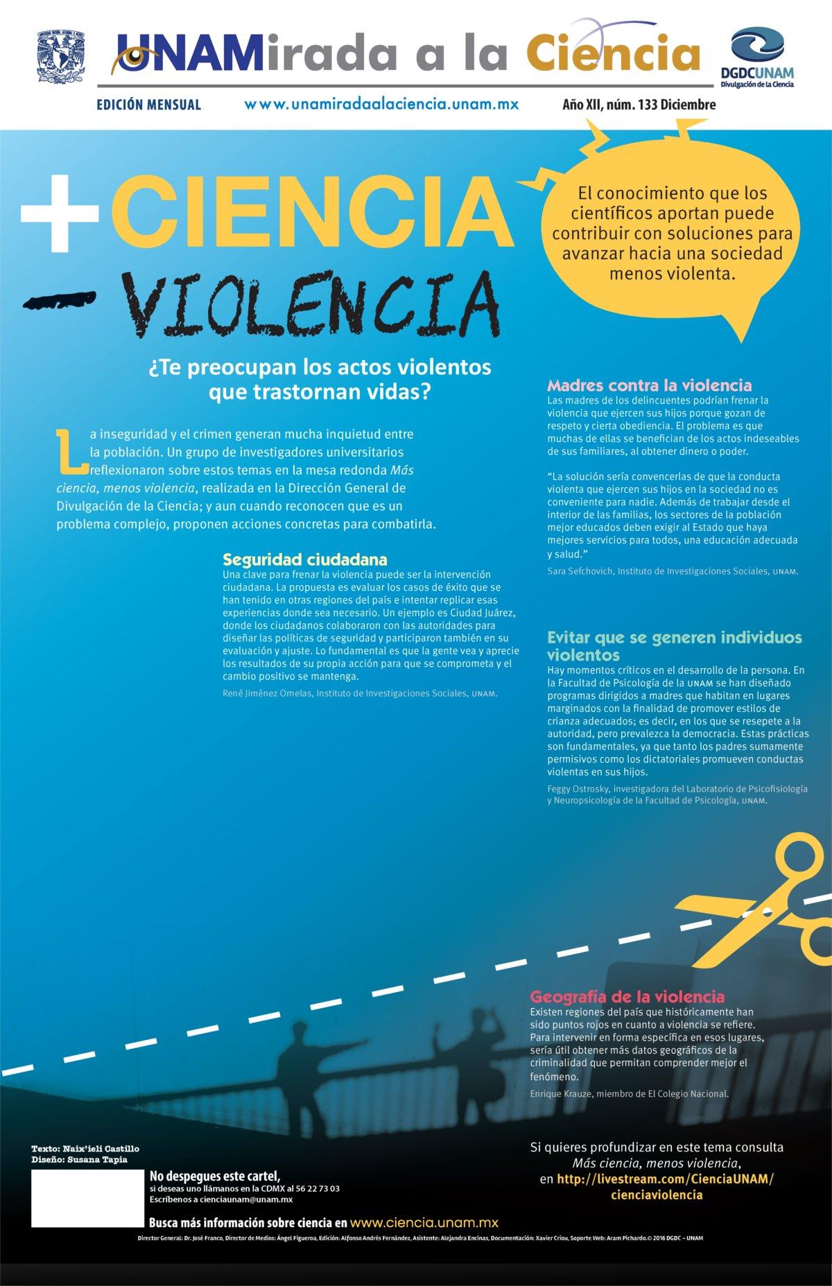 Unamirada a la ciencia: Más ciencia, menos violencia