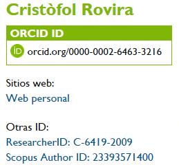 Identificador ORCID Cristòfol Rovira
